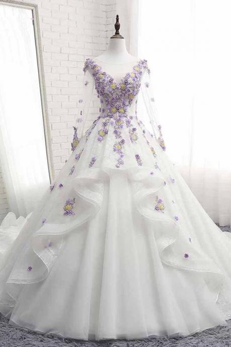 White Tulle Ruffles Lace Applique Bridal Dresses,Charming Beadings Tulle long Sleeves Wedding Dresses.W1479
