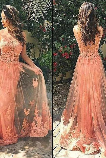 Charming Lace Appliques Prom Dresses,Long Prom Dresses,Coral Sleeveless Tulle Prom Dresses,Evening Dresses.P1458