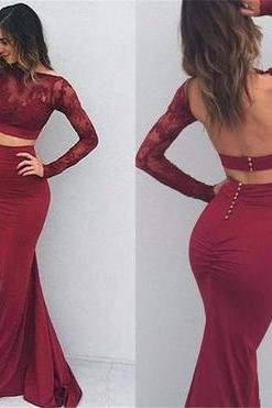 Two Piece Long Sleeve Mermaid Prom Dresses, Sexy Red Lace Backless Prom Dresses,Evening Dresses.TP1515