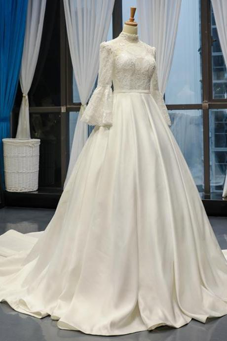 White Ball Gown Satin High Neck Bridal Dresses,Puff Sleeve Lace Appliques Wedding Dresses With Beading.W231