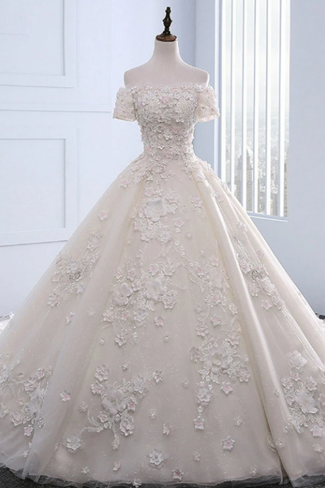 Ivory strapless sweep train off shoulder lace wedding dress with sleeves,W1429
