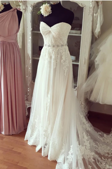 Pure white chiffon lace organza sweetheart beading long train prom dresses,wedding dresses,W1432
