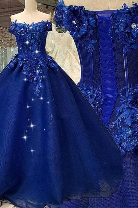 Off the Shoulder Prom Dress, Ball Gown Prom Dress, Royal Blue Prom Dress, Prom Dresses 2020, Lace Applique Prom Dress, Elegant Prom Dress, Prom Ball Gown, 2021 prom dresses,P1464