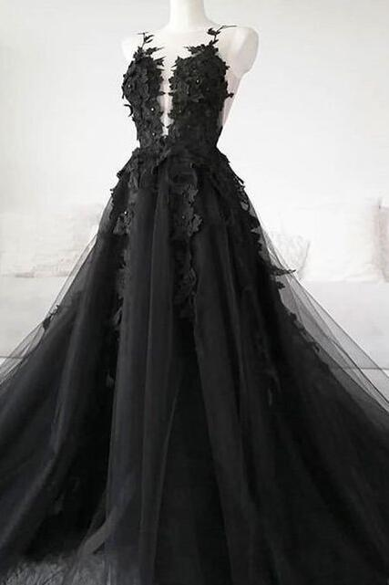 P1504 Sexy Sheer Black Long Prom Dresses Illusion Back A Line Floor Length Formal Women Party Dress