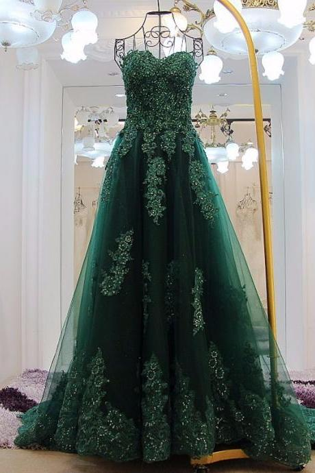 P1506 Elegant Green Appliques Long Prom Dresses Sexy Sweetheart Backless A Line Court Train Pageant Party Dress Vestidos De Festa