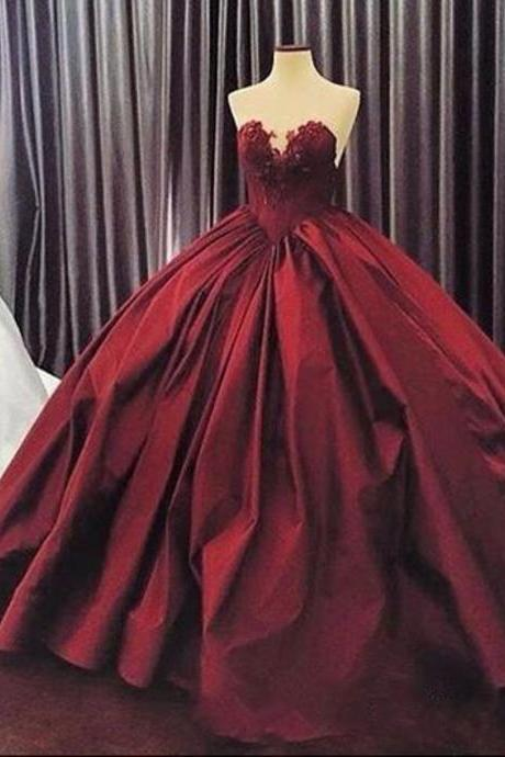 P1507 Burgundy Quinceanera Dresses 2017, Puffy Ball Gown Lace Quinceanera Dress For 15 Year, Formal Burgundy 16 Year Prom Dress, Sexy Sweetheart Corest Back Long Burgundy Party Dress, Floor Length Burgundy Appliques Party Dress