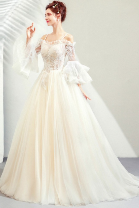 W1508 Light Champagne Ball gown Wedding Princess Prom Dress With Bell Sleeves