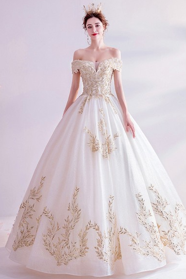 W1510 Classical Big Ballgown Light Champagne Wedding Prom Dress With Bling Patterns