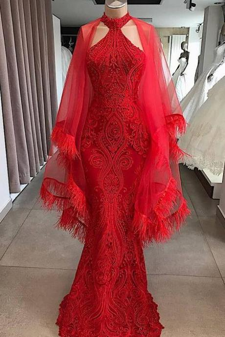 P1511 Red evening dresses long dubai caftan fashion feather mermaid modest evening gown formal dresses
