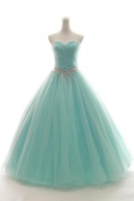 P1514 Sweetheart Neck Mint Tulle Sleeveless Floor-length Formal Prom Dress, Prom Gown