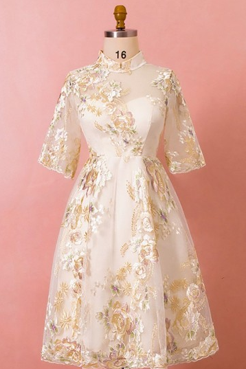 P1515 Custom Embroidered Flowers Tea Length Wedding Party Dress with Half Sleeves High Quality