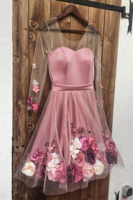 H1516 Pink v neck 3D applique short prom dress, pink homecoming dress
