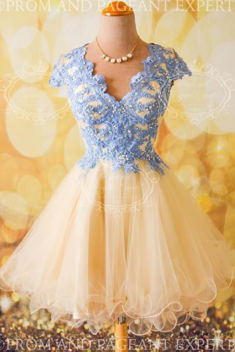 H1517 Cap Sleeves Short Prom Dresses,Lace Aplliques Homecoming Dresses,Cheap Tulle Party Dresses