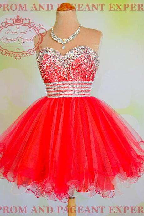 H1518 Sweetheart Tulle Homecoming Dresses,Beaded Red Prom Dresses