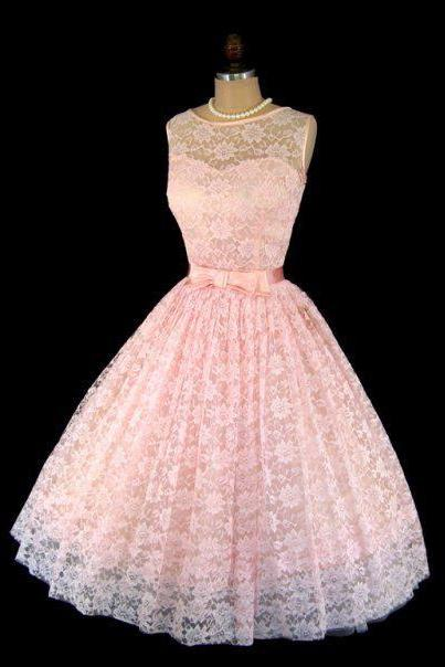 H1519 1950S A Line Vintage Pink Lace Prom Dresses Sleeveless Mini Short Homecoming Dress Party Dress Cocktail Gowns Vestidos