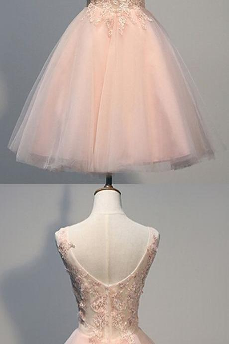 H1526 Pink Prom Dress,V Neck Prom Dress,Applique Prom Dress,Tulle Prom Dress,Bridesmaid Prom Dress, Cheap Party Dress