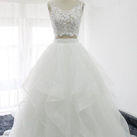 Two Pieces Sleeveless Lace Applique Wedding Dresses,A Line Bridal Gown.W61