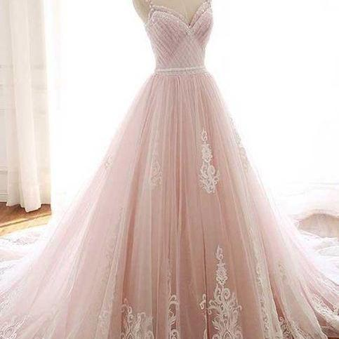 Charming spaghetti tulle A-line prom dress,Pink Lace-up back prom dress .P63