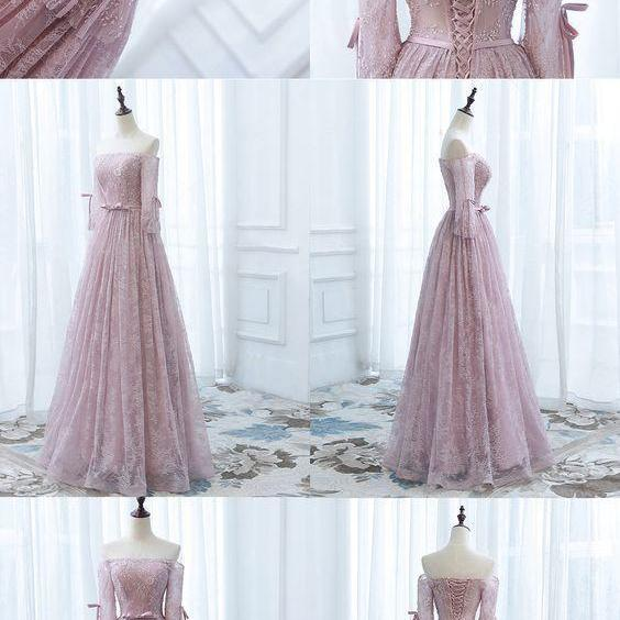 Off shoulder prom dress,pink lace prom dress, Bow knot prom dress ,Prom dress for teens.P64