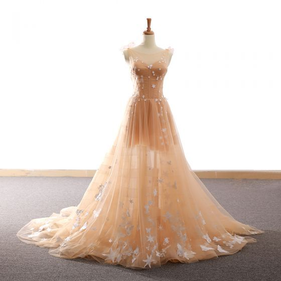 Chic Champagne Homecoming Dresses,A-Line Star Butterfly Scoop Neck Backless Sleeveless Court Train Formal Dresses.PH98
