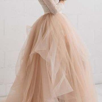 Champagne Tulle Homecoming Dresses,A-Line Long Sleeve Lace Evening Dresses.LS99
