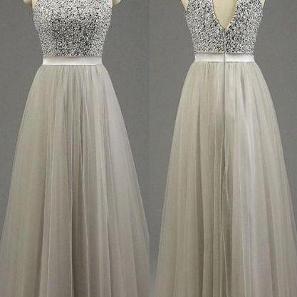 High neck homecoming dress,sleeveless evening dress,gray tulle floor-length beading homecoming dresses.PH164