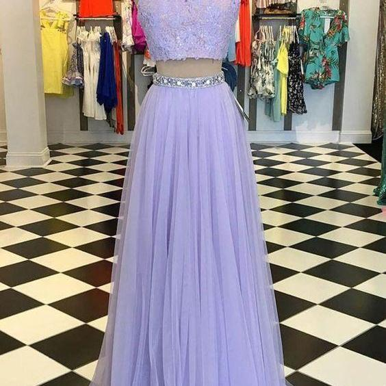 Lavender tulle two pieces evening dress, sleeveless long homecoming dress.TP165