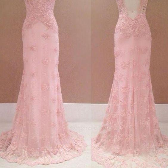 Pink lace open back prom dress, sleeveless tulle long evening dress.P167