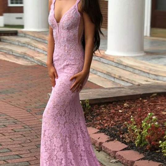 Pink V Neck Brush Train Prom Dresses,Sexy Sleeveless Backless Lace Prom Dress.P247