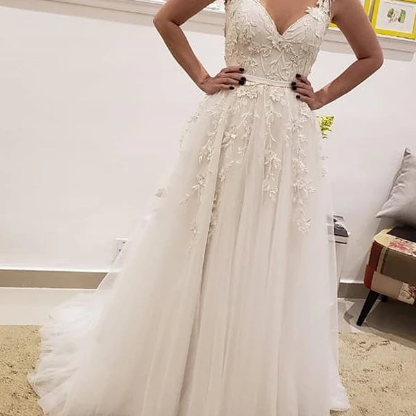 Chic A-Line Appliques Lace Wedding Dresses,Simple Sleeveless Tulle Wedding Dresses.W329