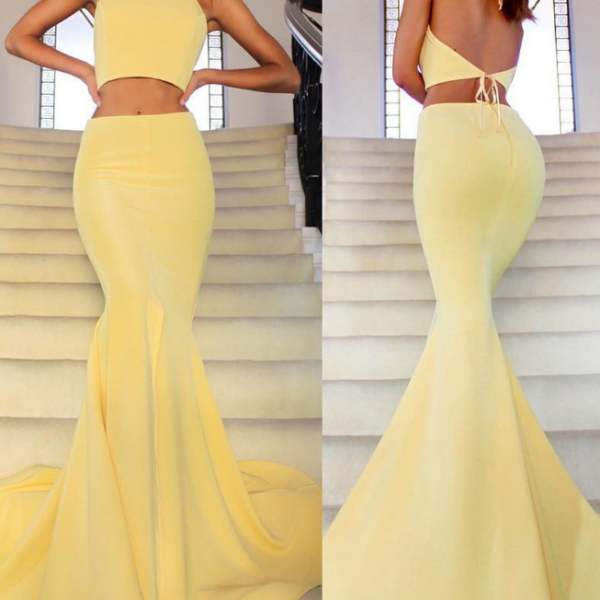 Two Piece Floor Length Prom Dress with Slit,Charming Mermaid Prom Dress.TP346