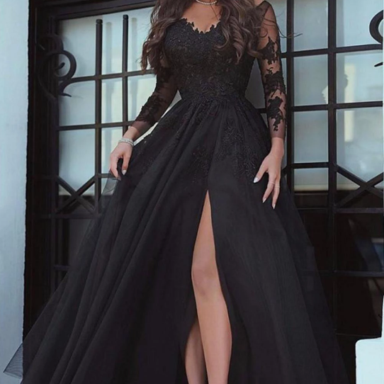 Chic Long Sleeves Appliques Lace Formal Prom Dresses,Sexy Side Slit Floor Length Tulle Formal Evening Dresses.F347