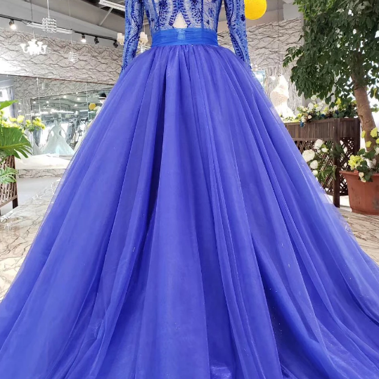 Elegant Blue Long Sleeves V Neck Tulle Formal Prom Dresses,Beautiful Beading Tulle Formal Evening Dresses.F348
