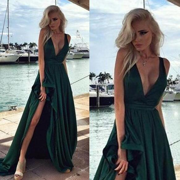 brush train prom dress, v-neck prom dress, sleeveless prom dress, sexy side slit prom dress.P461