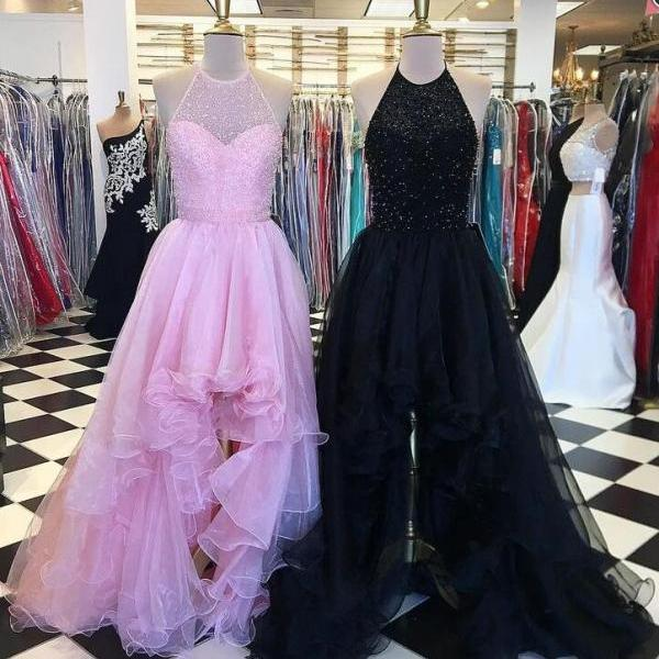 floor length homecoming dress,halter beading evening dress, sleeveless prom dress, high low tulle prom dress.HL462
