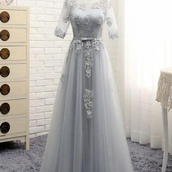 floor length prom dress, half sleeve prom dress, lace up back prom dress, grey prom dress,appliques tulle formal prom dress.P463