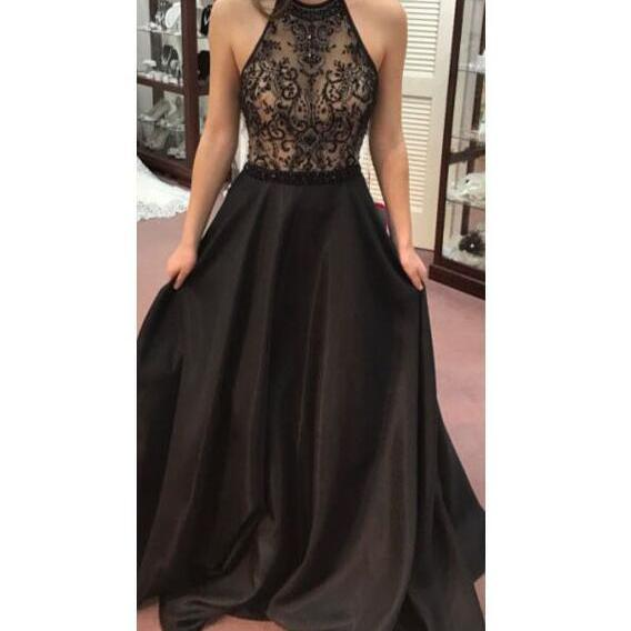 black floor length prom dress, sleeveless lace prom dress, halter prom dress, see through prom dress,satin formal prom dress.P464