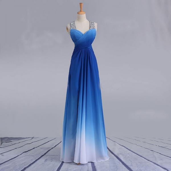 Elegant Blue to White Gradient Color Prom Dresses,Cross Straps Party Dresses with Sequin,Sleeveless Floor Length Evening Dresses.P999