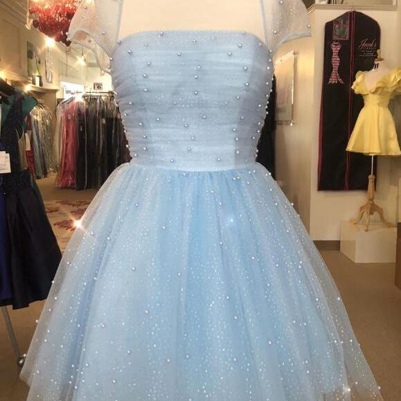 Sparkle Beaded Cap Sleeves Homecoming Dresses,Light Sky Blue Homecoming Dresses.PH1414