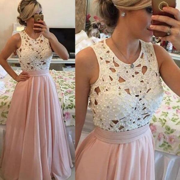 Charming A-line Beaded Chiffon Prom Dresses,Sleeveless Lace Top Long Prom Dresses.P1415