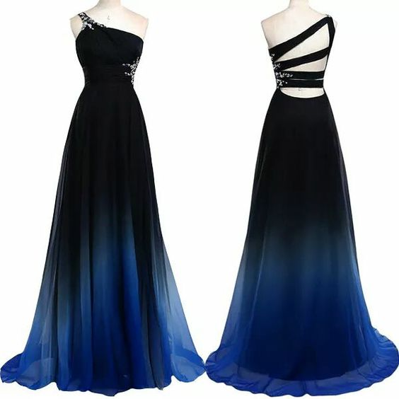Charming Prom Dress,One-Shoulder Prom Dress,Gradient Color Prom Dress,Chiffon Prom Dress,A-Line Evening Dress,P1466